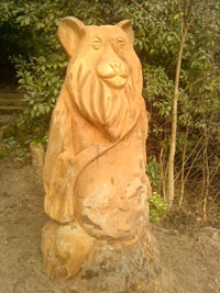 Wooden sculpture of a bear situated at the bottom of one of the paths in Town Wood.