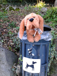 Picture of toy dog in the doggie waste bin.